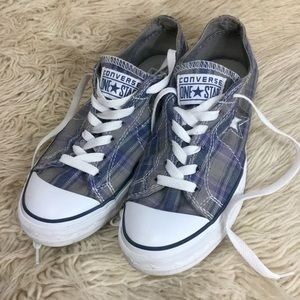 Converse One Star Gray & Blue Plaid Low Tops